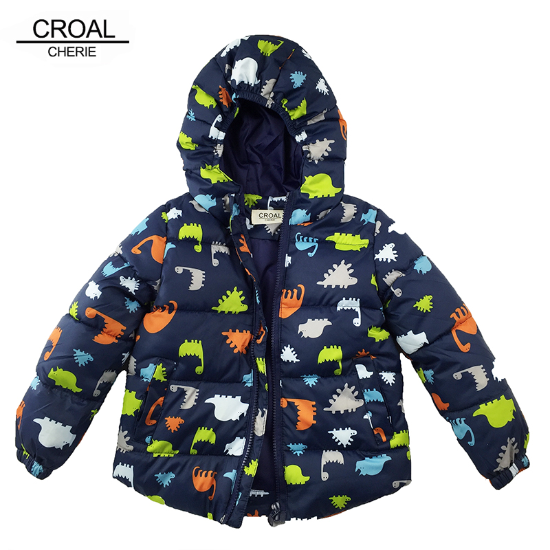 80-120cm Dinosaur Winter Kids Boy Jacket Cotton Outerwear Baby Boy Padded Jacket Children Winter-Clothing Hooded Kids Coat