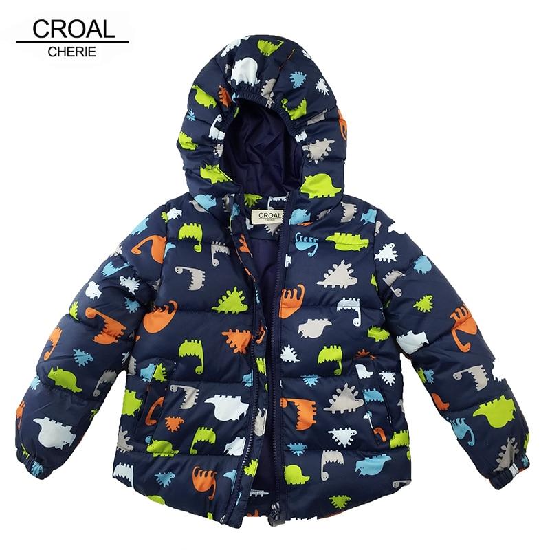 80-120cm Dinosaur Winter Kids Boy Jacket Cotton Outerwear Baby Boy Padded Jacket Children Winter-Clothing Hooded Kids Coat