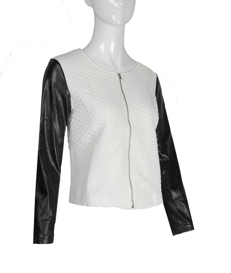 19 Women Basic Coats Jackets Spring Black Zipper Crop Pu Jacket Punk Style Bandage Women PU Leather Jacket Coat Crop Tops 5