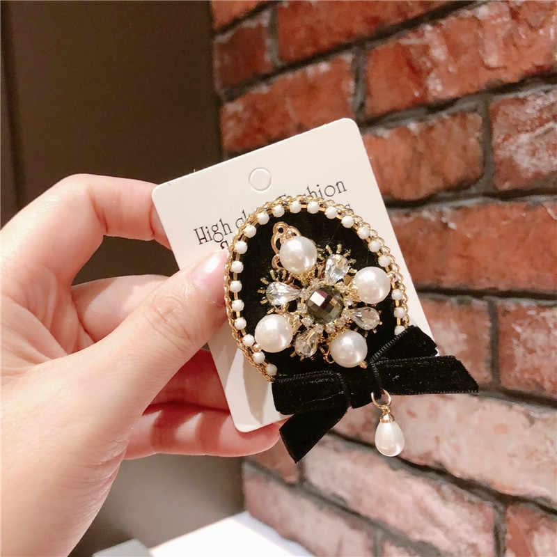 2019 мода новый жемчуг кисточкой черный парфюм на подвеске булавка лацкане эмблема на ткани крест Броши дизайнер Jwelry Подарки для женщин аксессуары