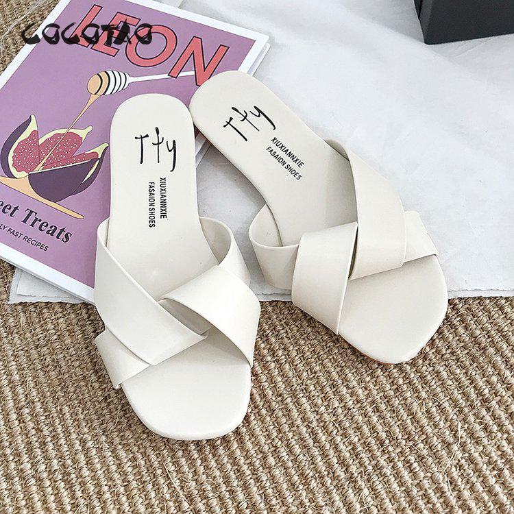 Slippers Female Summer Outside Wear Student Korean Edition Simple New Open toed Type 2019 Flat Bottom female slippers in Slippers from Shoes