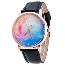 GIFT Style Starry Sky Scholar Watch Girls Males Lover Leather-based Wrist Watch, Black