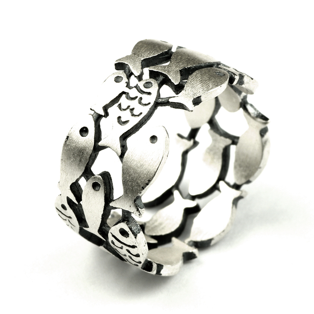 925 Sterling Silver Swimming Fish Ring