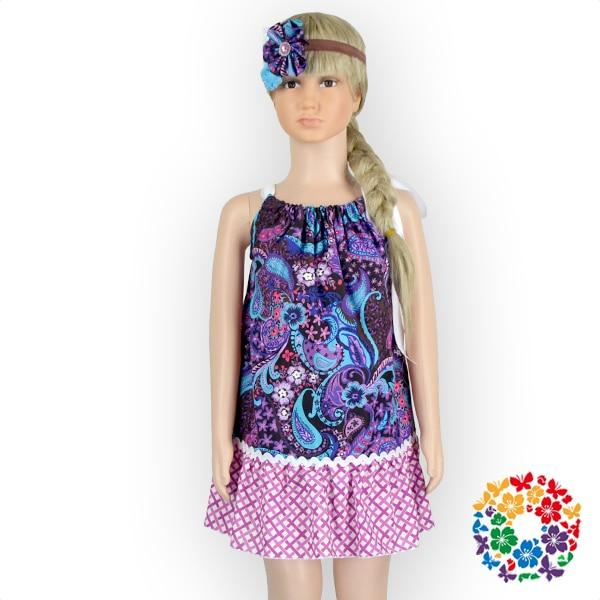 7ac874f00 Tela de Algodón Estampado de flores de Color púrpura Hermoso Vestido Del  Bebé Vestidos de Las