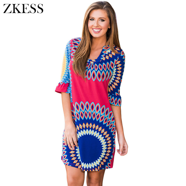 0d49149c44 US $25.47 |Zkess Women Raspberry Vibrant Sunshine Boho Dress Fashion  Vintage Print Half Flare Sleeves V Neck Mini Dresses LC220124-in Dresses  from ...