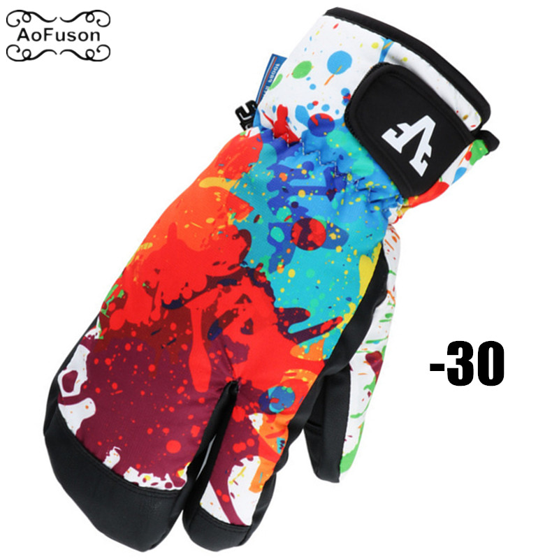 Winter Ski Gloves Unisex Profession Waterproof Keep Warm Thicker Snowboard Gloves Outdoor Snow Three-Finger Riding Skiing Gloves