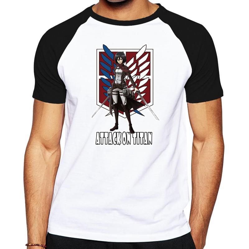 Men t shirt cartoon anime men's t-shirt Attack on Titan casual shirt Mikasa Ackerman and Levi Ackerman short sleeves  tops tees