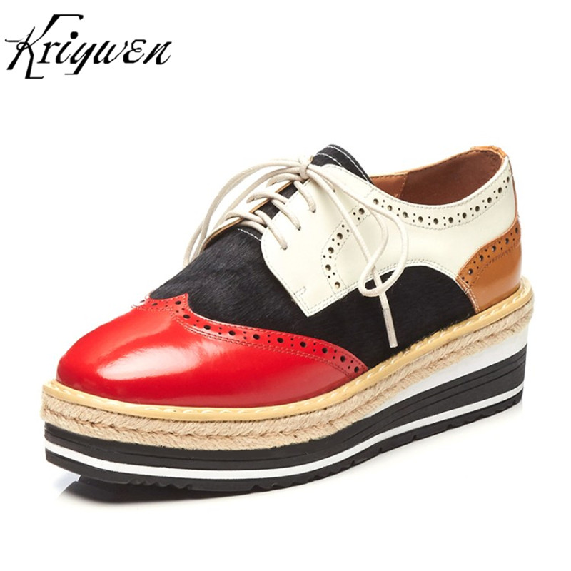 Kriywen Spring Woman Brogue Shoes Fashion Ladies Genuine Leather Women Flats Lace Up Cross-tied Sapato Feminino Casual Female padegao brand spring women pu platform shoes woman brogue patent leather flats lace up footwear female casual shoes for women
