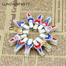 12PCS Small BlackBoard Wooden Clothespin Office Supplies Photo Craft Clips DIY Clothes Paper Peg Party Decoration