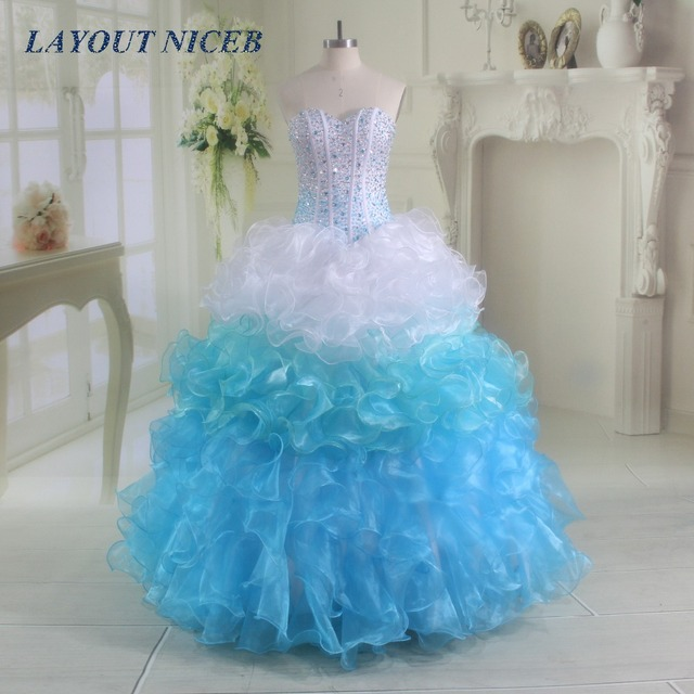 d42077df23c917 2017 Quinceanera Dresses Bling Bling Beading Tiered Ruffles Organza Ball  Gown Formal Dresses Party Prom Dresses Gowns
