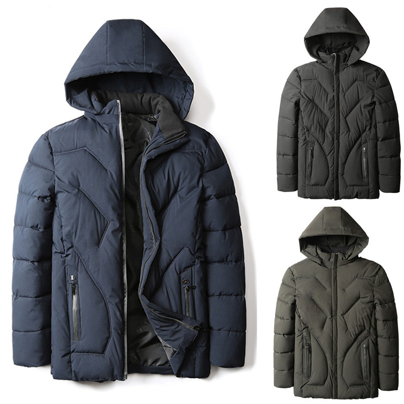 Men Down Coat Winter Warm Pocket Zipper Hoodie Thermal Top Coat Snowboarding Jackets Hooded Velvet Down Jacket #2O16#F