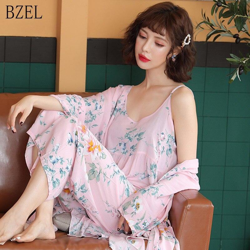 BZEL 2019 Rhododendron Print Japanese&Korean Retro Style Robe   Set   3 Piece   Pajama     Sets   Breathable Barthrobe Long-sleeved Homewear