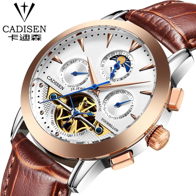 все цены на  Luxury Brand CADISEN 2016 Fashion Tourbillon Watches Men Wristwatches automatic Mechanical Watches Luxury Business Watch  в интернете
