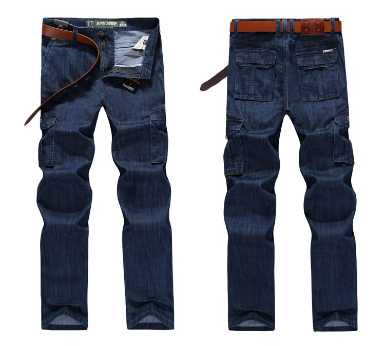 Casual Military Multi-pocket Jeans Male Clothes Men Jean Big Size 2019 High Quality Pants Homme Streetwear Casual Trousers 2019