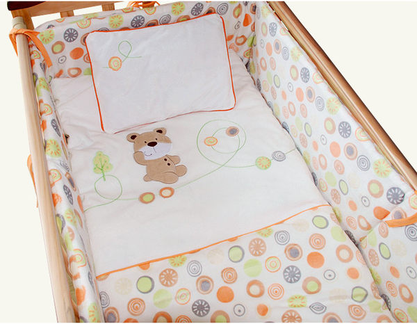 Promotion! Velvet Pattern Baby Bedding Set Comfortable Bedding for Kids 100% Cotton Quilt ,(bumper+sheet+pillow+duvet)