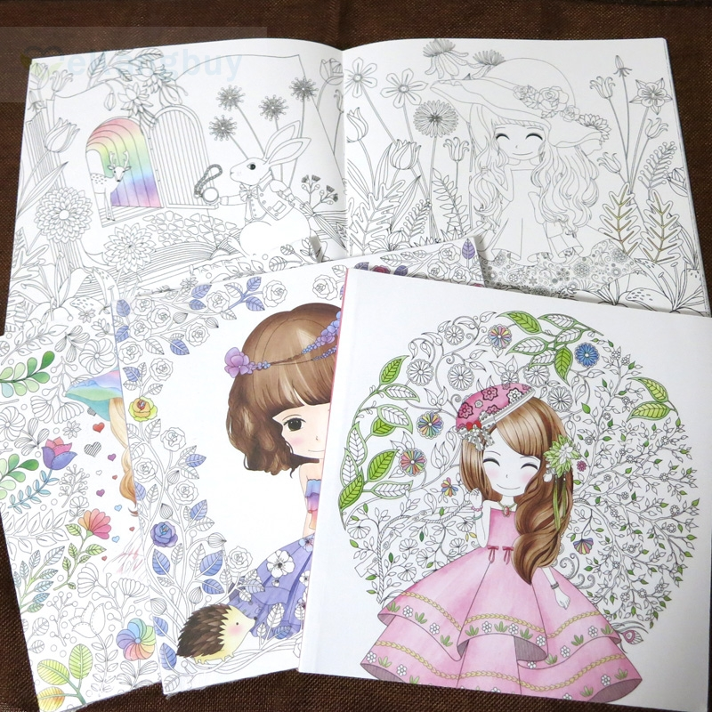 1x 96pages Lovely Girl Coloring Book Ants