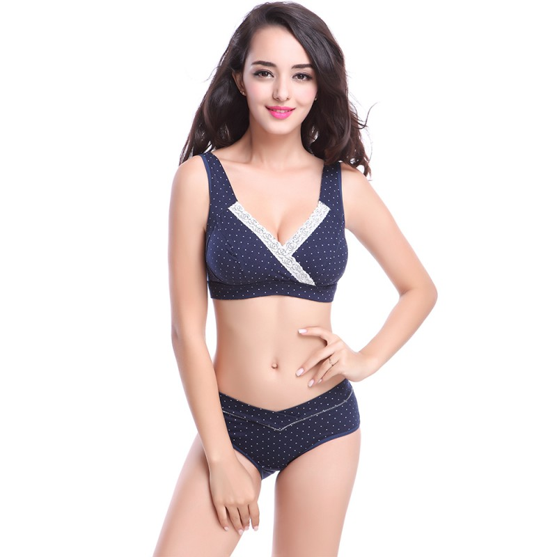 ffbb3db207 New Pregnant Woman Cotton Underwear Wave Point Maternity Bra Nursing Push  Up Anti-sagging Breast