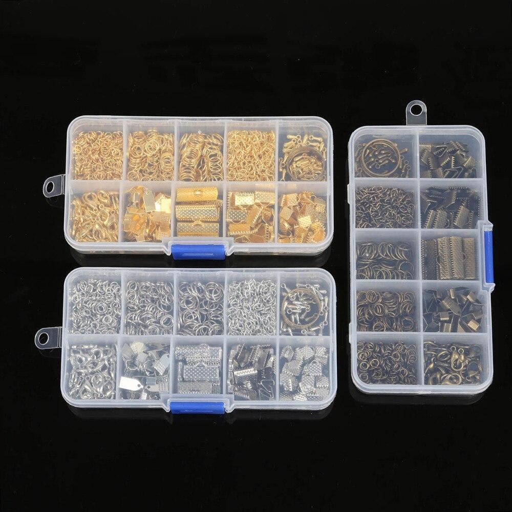 1 Box 3 Farben Einzigen Ring/karabiner/schwanz Kette/clip Schnalle/drop Kit/messenger Box Für Diy Halskette Schmuck Machen Materialien