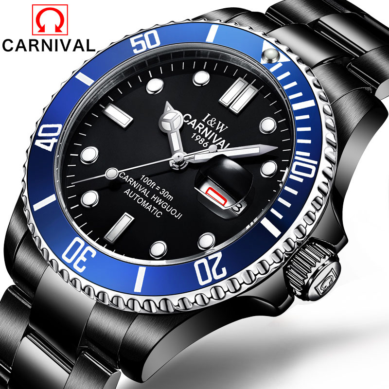 New Carnival Brand  Mechanical Watch Men Rotatable Bezel GMT Sapphire Luminous Classic Clock Date Day Stainless Steel skone 5051 luminous pointers quartz watch men rotatable bezel wristwatch