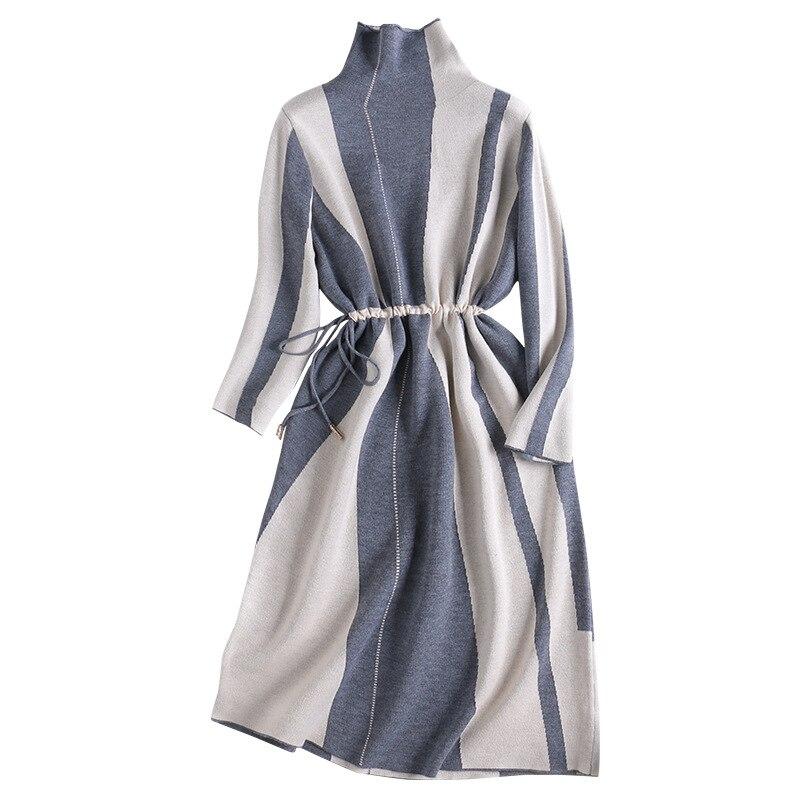 Nouvelle Élégante 2019 Mode Apricot Femmes Longues Cordon Automne Rayé Manches Roulé Pull gray Tricoté Col Hiver À Robe AvC7xwAg1q