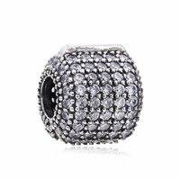 Hot Sale Glamorous Real 925 Sterling Silver Pave Barrel Clipe Charme Beads Fit Pulseira Pandora Original Autêntica Jóia de Presente