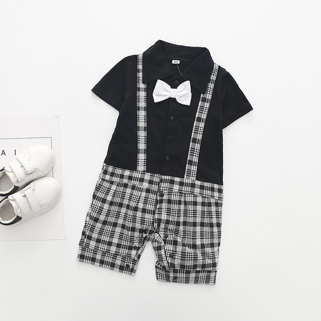 Turn-down Collar Newborn baby Cotton rompers Short sleeve gentleman Style baby boy clothes infant babies jumpsuits overalls
