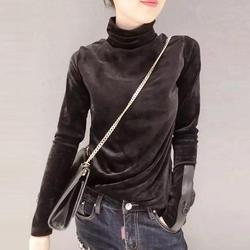 2018 Woman Velvet Warm Bottoming Half Turtleneck Pullover Sweaters New Fashion Fall Korean Long Sleeve Pullover Sweater 4