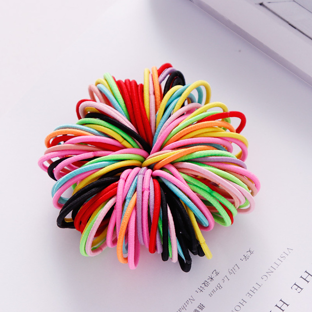 New 100PCS/Set Girls Candy Colors Nylon Elastic Rubber Band Fashion Hair Accessories 3