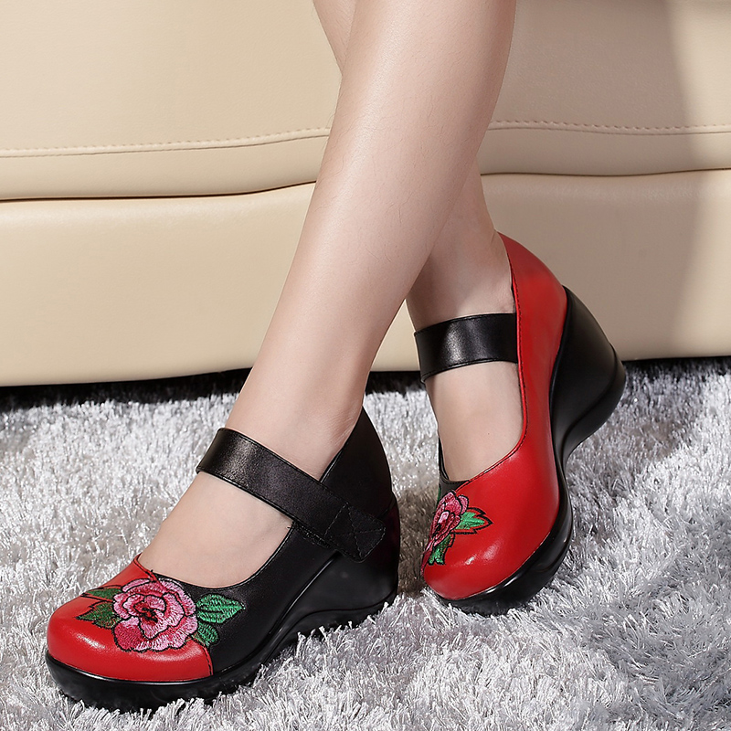 ФОТО Round head women pumps black red platform female shoes embroidered shoes spring 2017 high heels Chinese wind