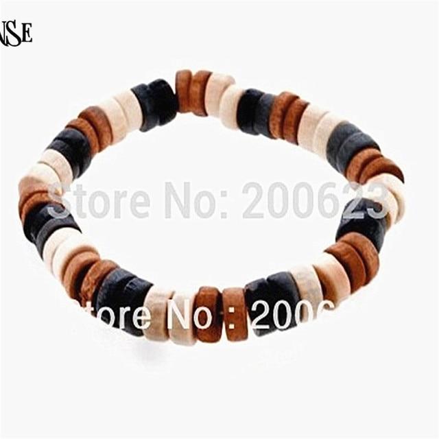 Vintage African Style Black Brown Beige Hawaii Wooden Beaded Bracelets Bangles Elastic Wood Bangle Men