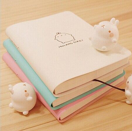 2017-2018 Lindo Kawaii Cuaderno de Dibujos Animados Conejo Molang Diario Planificador Diario el Bloc de Notas para Regalo de Los Cabritos de Corea Papelería Tres Cubiertas