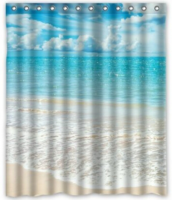 Beach Theme Custom Ocean Waves California Paradise Shower Curtain 60 X 72