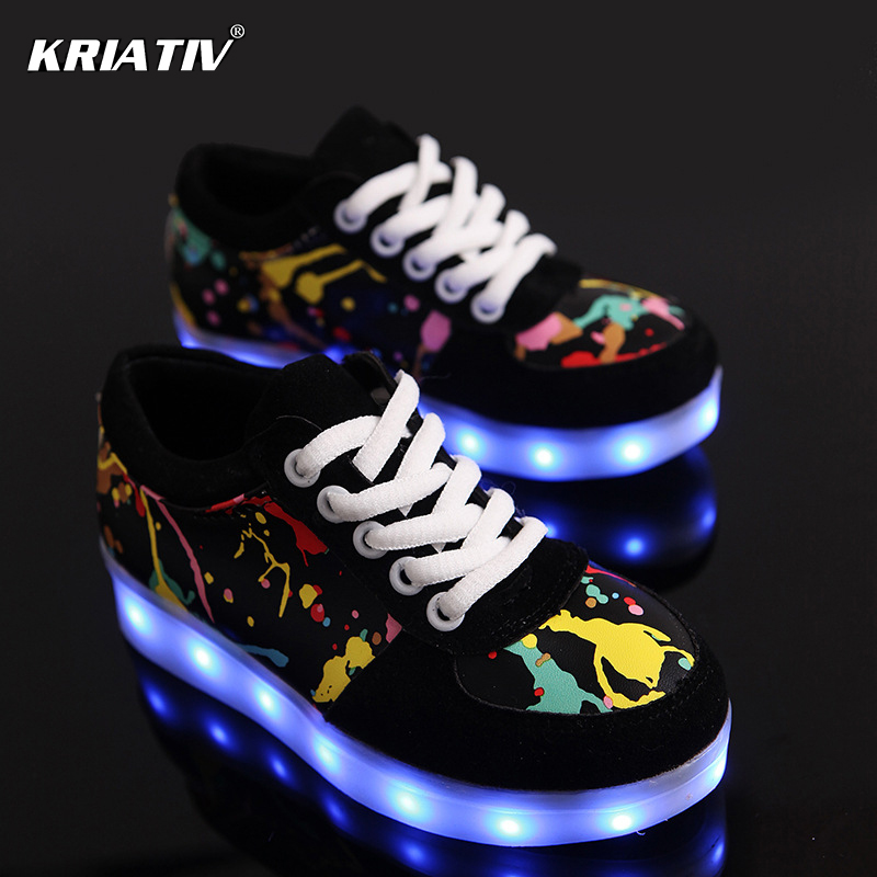 Colourful USB Charger children led shoes for Boy&Girl glowing sneakers Kids Light Up shoes led slippers Casual Luminous Sneakers