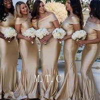 Elegant Champagne Elastic Satin Mermaid Dresses Bridesmaid Off The Shoulder Floor Length Long Wedding Party Dress Cheap