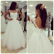A line Custom Made Wedding Dresses Illusion Neck Lace Applique Lace Bridal Gown Elegant Organza White Sleeveless Wedding Dresses