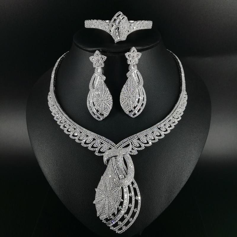 2018 new fashion vintage CZ zircon big necklace earring bracelet ring jewelry set wedding bridal banquet dressing jewelry set 2018 new fashion luxury vintage green cz zircon necklace earring bracelet ring wedding bridal banquet dressing jewelry set