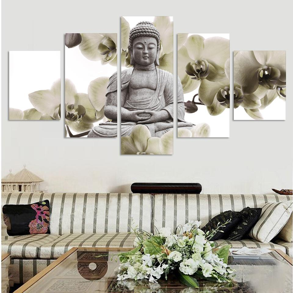 UnFramed 5 Panel Խոշոր խոլորձի ֆոն Բուդդա - Տնային դեկոր - Լուսանկար 2