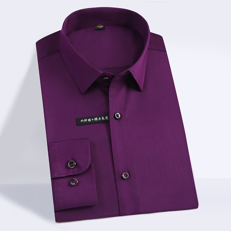 High Quality Classic Style Bamboo Fiber Men Dress Shirt Solid Color Men's Social Shirts Office Wear Easy Care(Regular Fit) 10