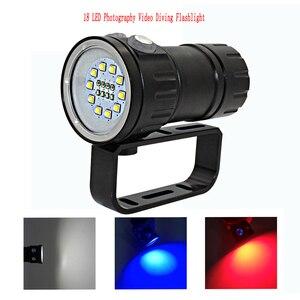 Image 4 - LED צלילה פנס XHP70 / 90 LED צילום וידאו אור 20000LM מתחת למים 100m עמיד למים טקטי לפיד מנורה