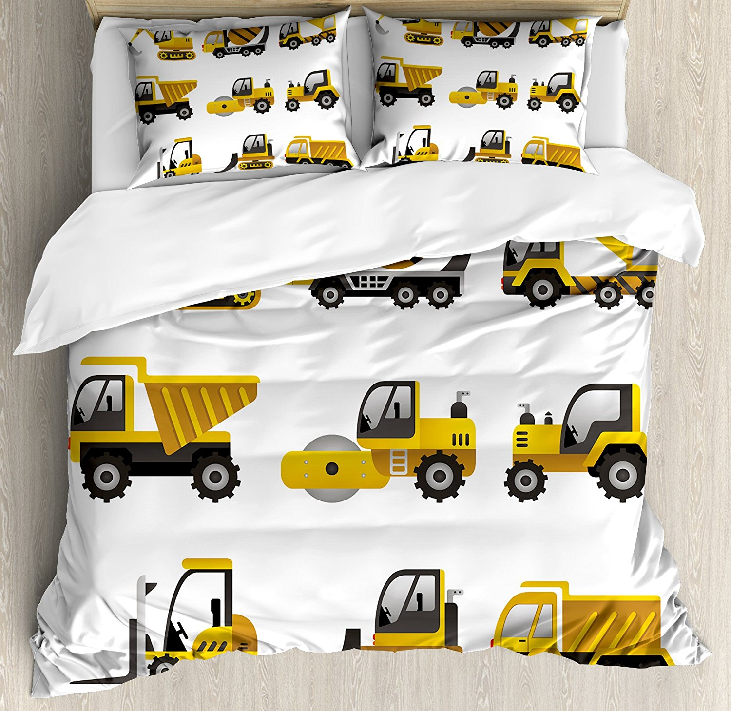Construction Duvet Cover Set Big Vehicles Icon Collection Engineering Building Theme Clip Art Style 4 Piece