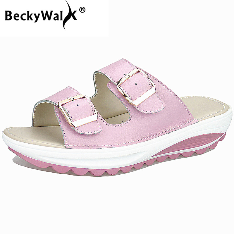 BeckyWalk Women's Sandals Genuine Leather Women Summer Shoes Platform Wedges Female Slides Beach Slippers Big Size 35-42 WSH2725 косметика для мамы timotei бальзам интенсивное восстановление 200 мл