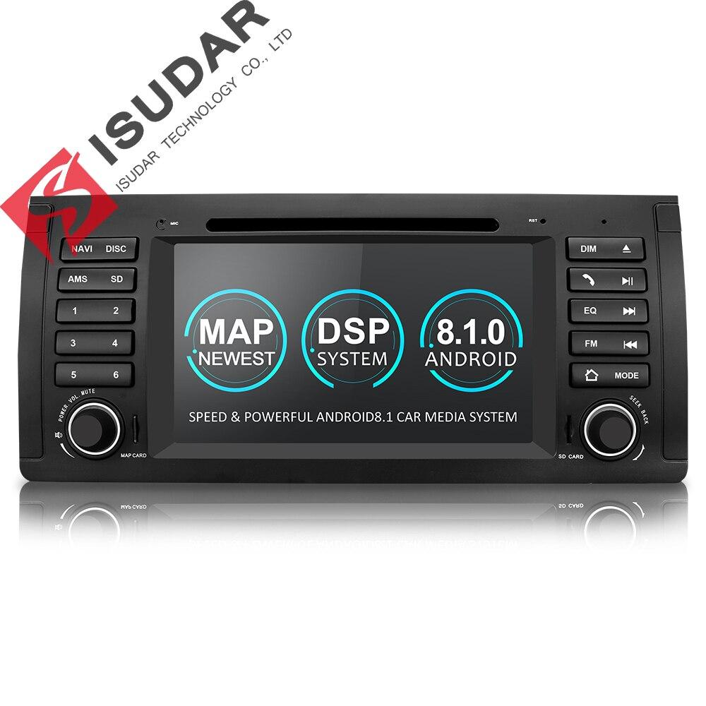 Isudar lecteur multimédia Android 8.1 GPS Un Din lecteur dvd De Voiture Pour BMW E39 5 Série M5 2 GB RAM 16 GB ROM Wifi Radio lien miroir