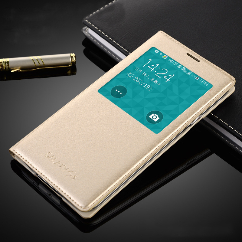 For <font><b>Samsung</b></font> Galaxy <font><b>S5</b></font> <font><b>case</b></font> Free Answer Simple Window PU <font><b>Leather</b></font> with Smart chip sleep wake-up Function Flip <font><b>Case</b></font> for Galaxy <font><b>S5</b></font> image