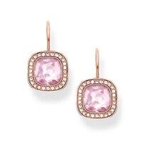 Rosa Color Oro Rosa Orecchini di Cristallo Incorniciato da Zirconi Bianchi, la maggior parte di Modo Orecchini Gioielli Gem Stone Orecchino per Le Donne