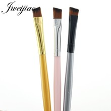 JWEIJIAO New Arrival Angled Eyebrow Brush Beveled Eye Brow Brush Gold Silver Black Metal And Plastic Handle Pen Eye Brush 1 pc(China)