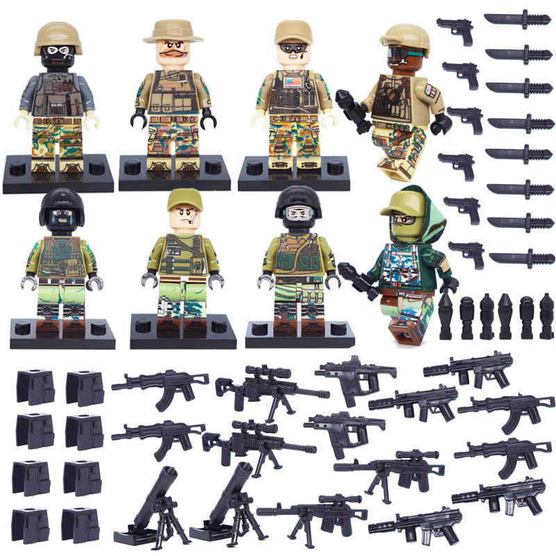 8pcs USA Russian army modern Special forces Blocks toy swat military weapon accessories Compatible Mini figures legoinglys city