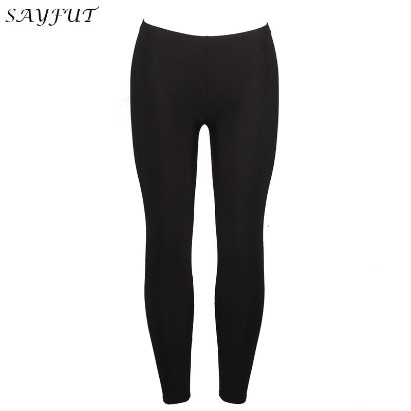SAYFUT Leggings Ultra Soft Basic Solid REGULAR And PLUS Black Best Seller Legging Elastic Pants High Waist Compression Slimming