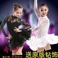 A Areia nova Dança Latina roupas de dança rendas das crianças das crianças das meninas trajes de dança Latina Traje acrobacias