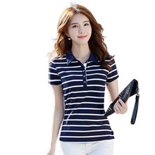 New Fashion Style Striped Woman Modal And Cotton Polo Shirts 2 Styles Drop Shipping