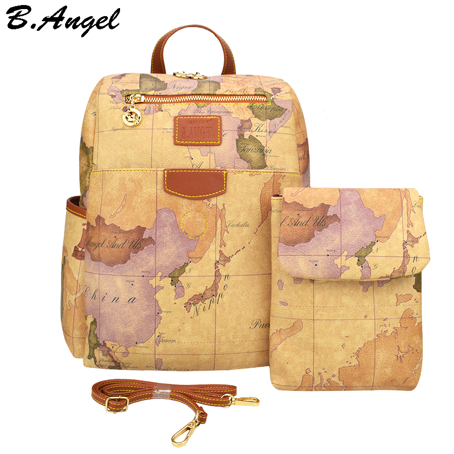Retro Pouchy Backpack for Travel High Capacity Leather Backpack for School World Map Printing Backpack Two